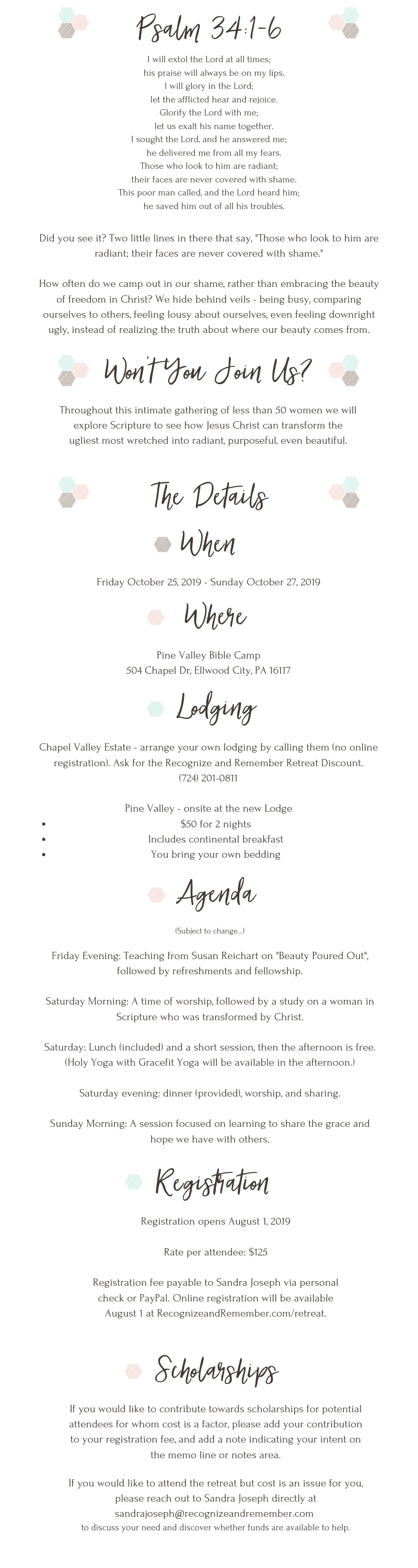 Details for the Beauty Revealed Retreat