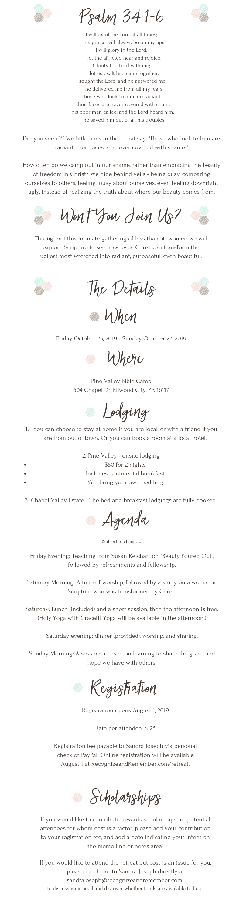 Beauty Revealed retreat information - agenda, lodging, etc.